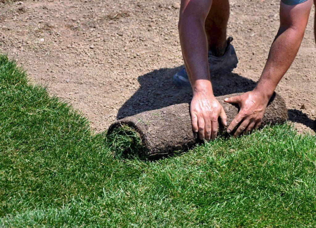 landscaper landscaping during work